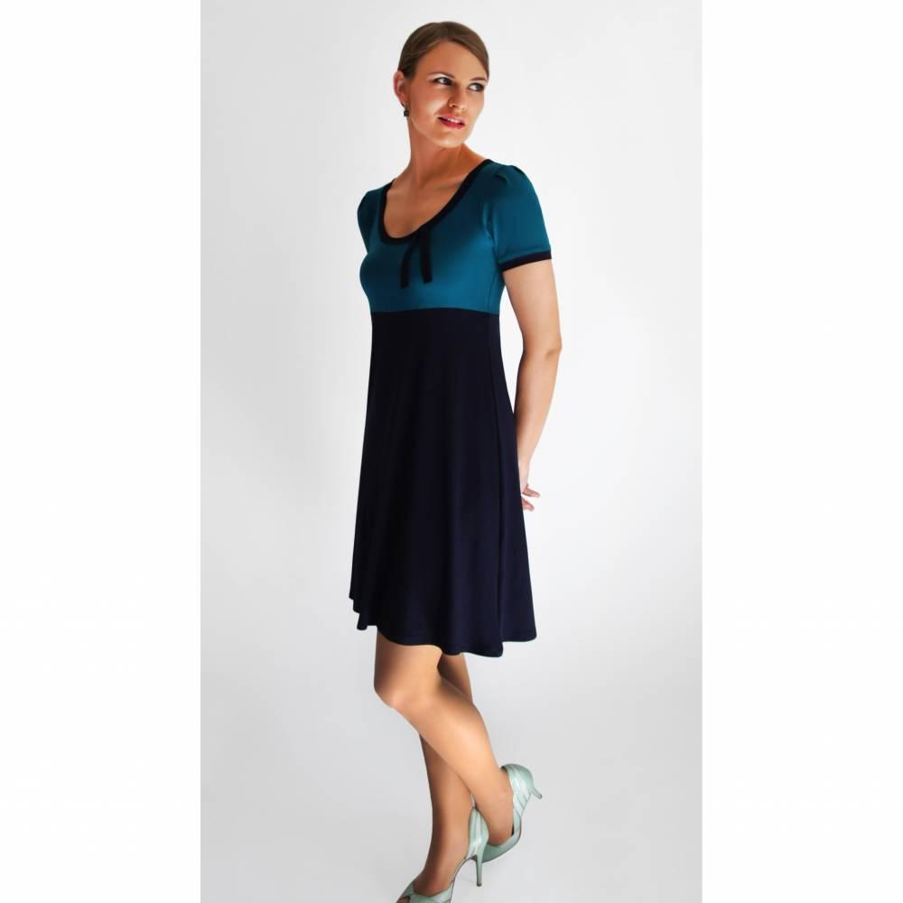 Kleid AVA Kurzarm petrol-blau Bild 1