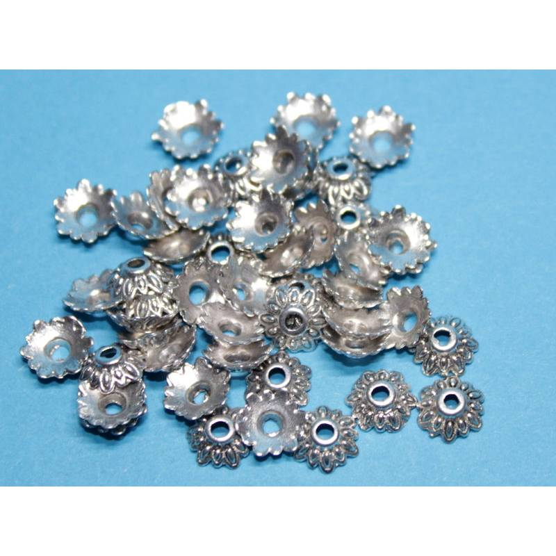50 Perlenkappen Blüte, ca. 7x8 mm, silberfarben Bild 1