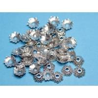 50 Perlenkappen Blüte, ca. 7x8 mm, silberfarben