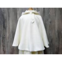 Warmer Umhang fürs Brautmädchen, cremfarbenes Taufcape, weißer Mantel für Kommunion Bild 1