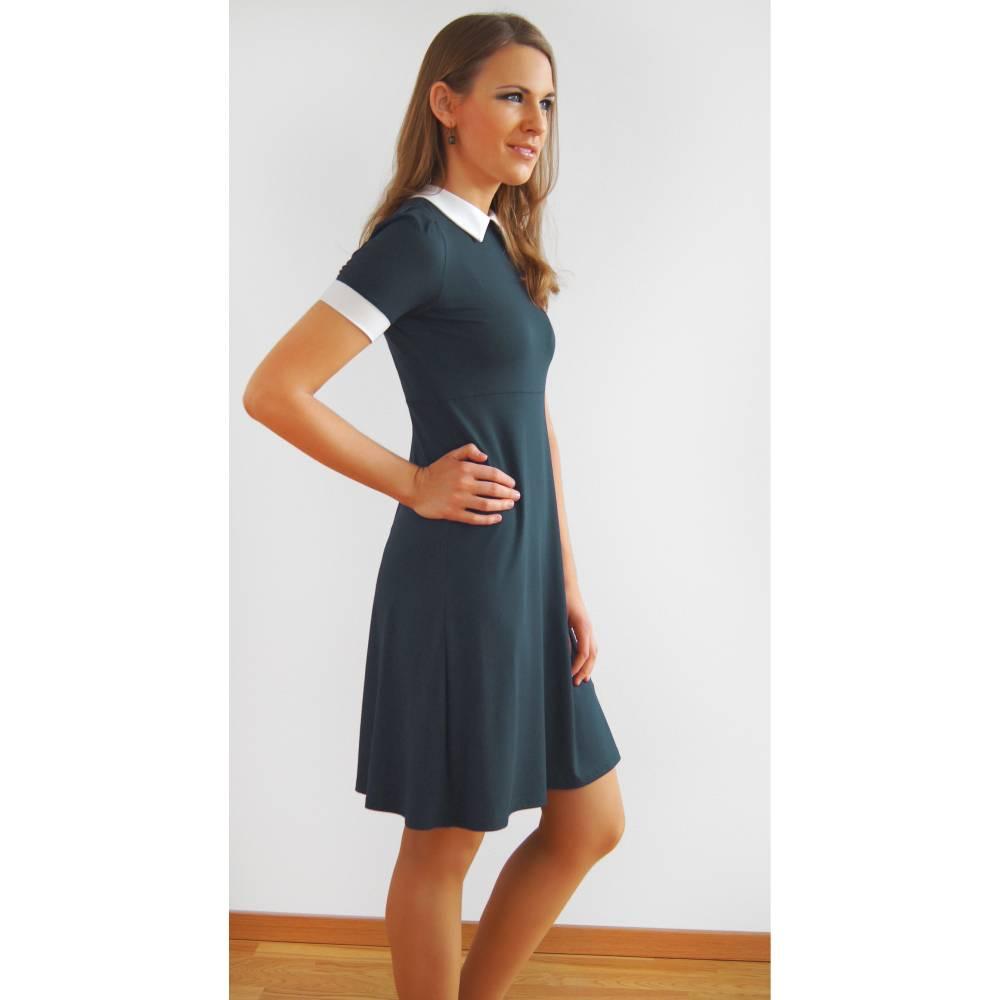 Kleid Bubikragen grau creme  Bild 1