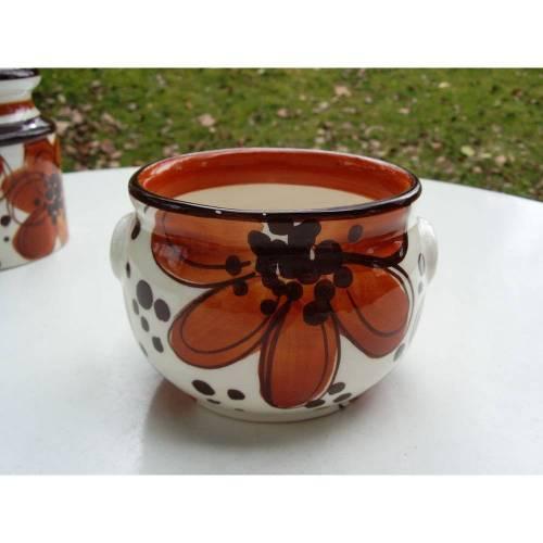 Keramikdose, Dose, Schramberg, Hyde Park, Vintage, 70er, Utensilo, Porzellandose, Becher, orange-braun, Dose mit Blumen, Bonbondose,