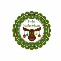 20 Aufkleber / Sticker MOTIV ...Weihnachten Elch grün Bild 1