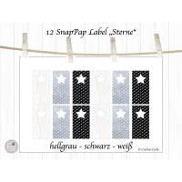 12 Aufnäher und Labels aus SnapPap, schwarz, weiß und grau Bild 1
