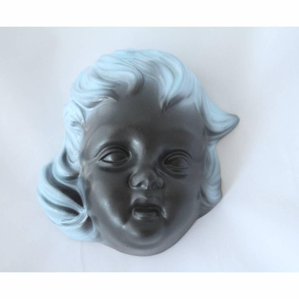 Wandmaske aus Keramik mit blauen Haaren Vintage Bild 1