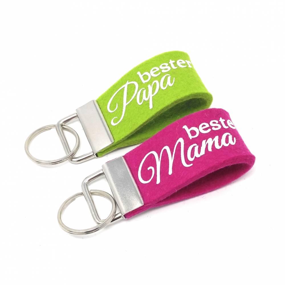 beste Mama oder bester Papa Geschenk Muttertag Vatertag Schlüsselanhänger  Bild 1