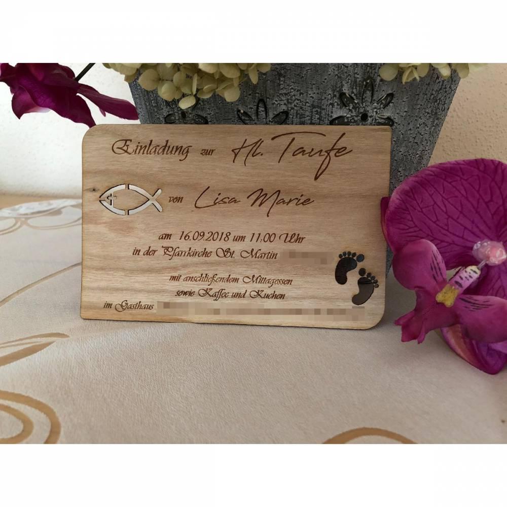 Karte/ Einladung aus Echtholz für Geburt, Taufe, Hochzeit, Kommunion, Konfirmation oder Geburtstag Bild 1