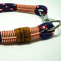Hundehalsband aus Tau maritim blau weiß rot Marke AlsterStruppi Bild 1