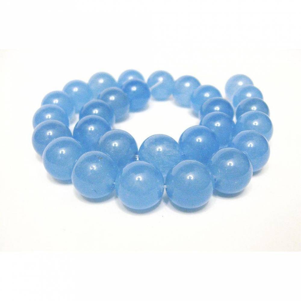 14 mm Jade Perlen Aquamarin Blau Edelstein Strang, Ketten Strang, Perlen Strang rund Blau Bild 1