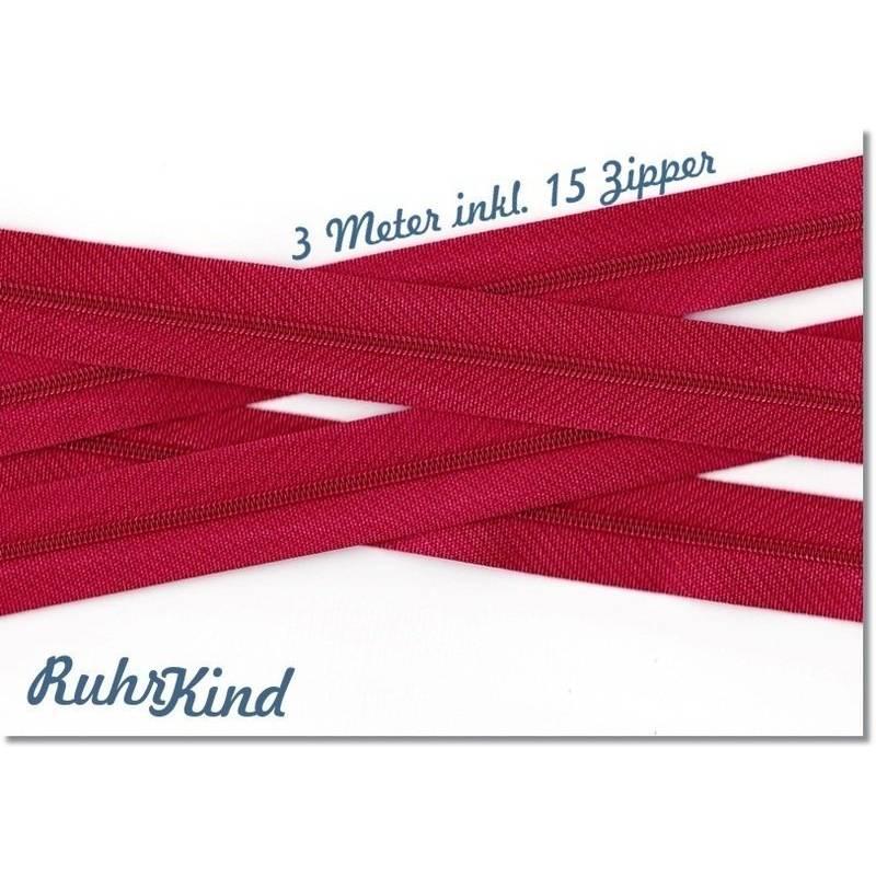 3m Endlosreißverschluss 3mm +15 Zipper Rot Bild 1