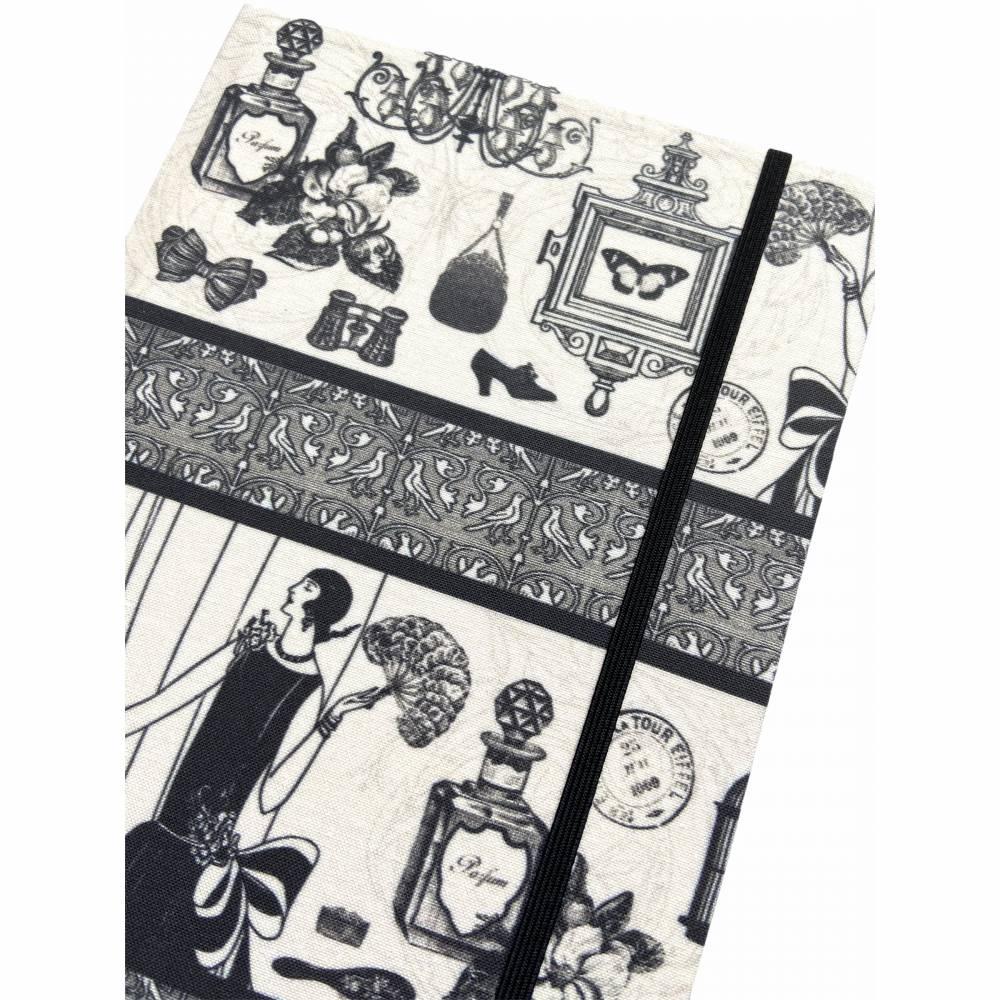 """Notizbuch Tagebuch Kladde """"Boudoir"""" A5 stoffbezogen Stoff Vintage-Style ArtDeco 20er 20ies Mode Lifestyle Parfum Flapper Dame  Geschenk Weihnachten Bild 1"""