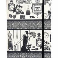 """Notizbuch Tagebuch Kladde """"Boudoir"""" A5 stoffbezogen Stoff Vintage-Style ArtDeco 20er 20ies Mode Lifestyle Parfum Flapper Dame  Geschenk Weihnachten Bild 2"""