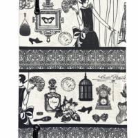 """Notizbuch Tagebuch Kladde """"Boudoir"""" A5 stoffbezogen Stoff Vintage-Style ArtDeco 20er 20ies Mode Lifestyle Parfum Flapper Dame  Geschenk Weihnachten Bild 3"""