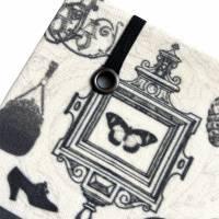 """Notizbuch Tagebuch Kladde """"Boudoir"""" A5 stoffbezogen Stoff Vintage-Style ArtDeco 20er 20ies Mode Lifestyle Parfum Flapper Dame  Geschenk Weihnachten Bild 4"""