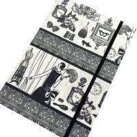 """Notizbuch Tagebuch Kladde """"Boudoir"""" A5 stoffbezogen Stoff Vintage-Style ArtDeco 20er 20ies Mode Lifestyle Parfum Flapper Dame  Geschenk Weihnachten Bild 5"""