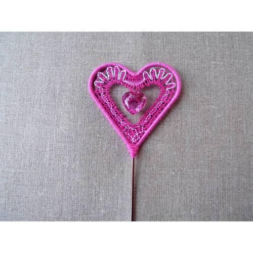 Herzrahmen am Stab mit Klöppelarbeit Valentinstag valentine's day Herz heart gift for her