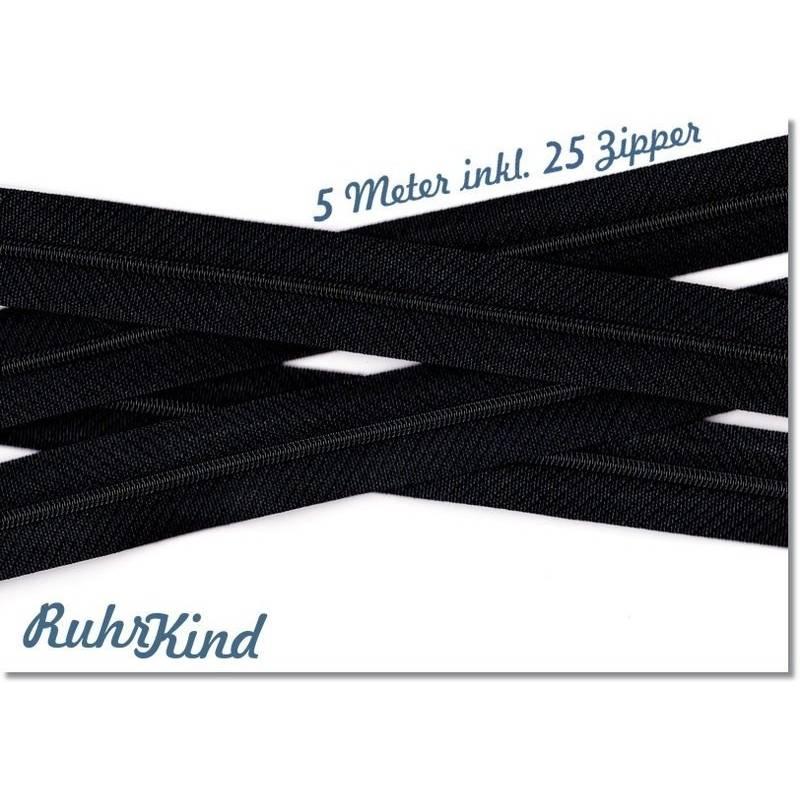 5m Endlosreißverschluss 3mm +25 Zipper Schwarz Bild 1