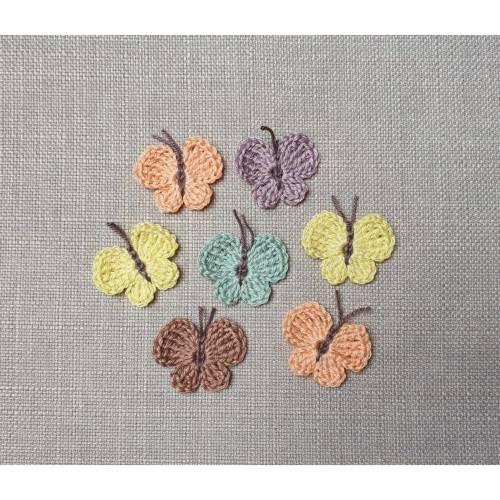 Schmetterlinge Mini Häkelapplikation zum Aufnähen in Wunschfarbe