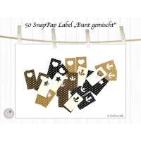 50 Aufnäher und Labels aus SnapPap, Herz, Stern, Anker, bunt gemischt Bild 1