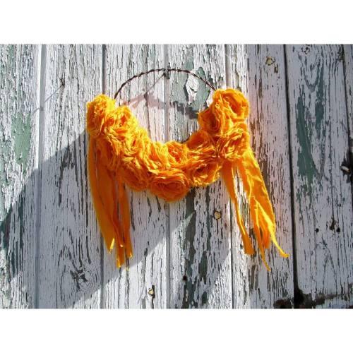 Kranz  Orange  Rosenkranz   Rose  Shabby Chic  Vintage  Rosen  Stoffkranz