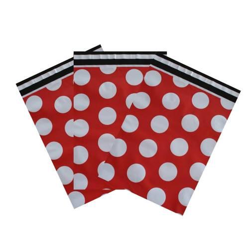 10 Tüten XL  23x32 cm Dots rot / weiß