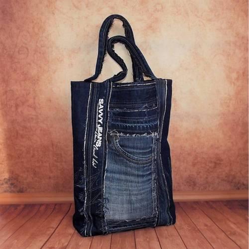 Jeanstasche, Tragetasche, Einkaufstasche, Shopper, Jeans Upcycling, Recycling