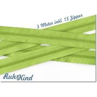 3m Endlosreißverschluss 3mm +15 Zipper Lime
