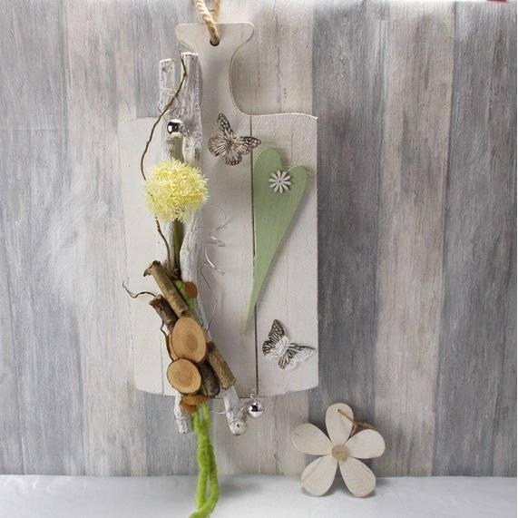 Wandgesteck, Türkranz, Gartendeko, Holzbrett mit Blumen, modern Bild 1