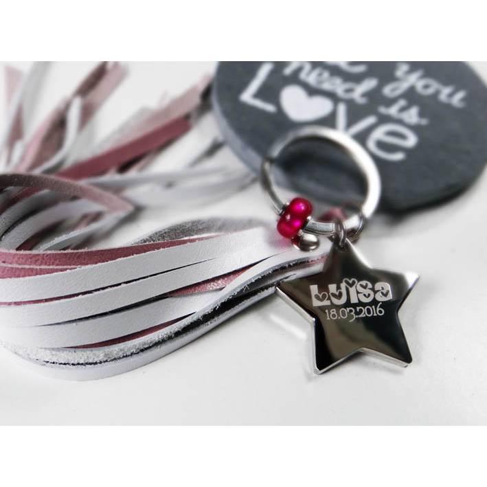 Schlüsselanhänger Stern mit Wunschtext / datum Geschenk zur Geburt Bild 1