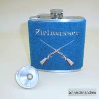Flachmann mit bestickter Filzmanschette ZIELWASSER Bild 1