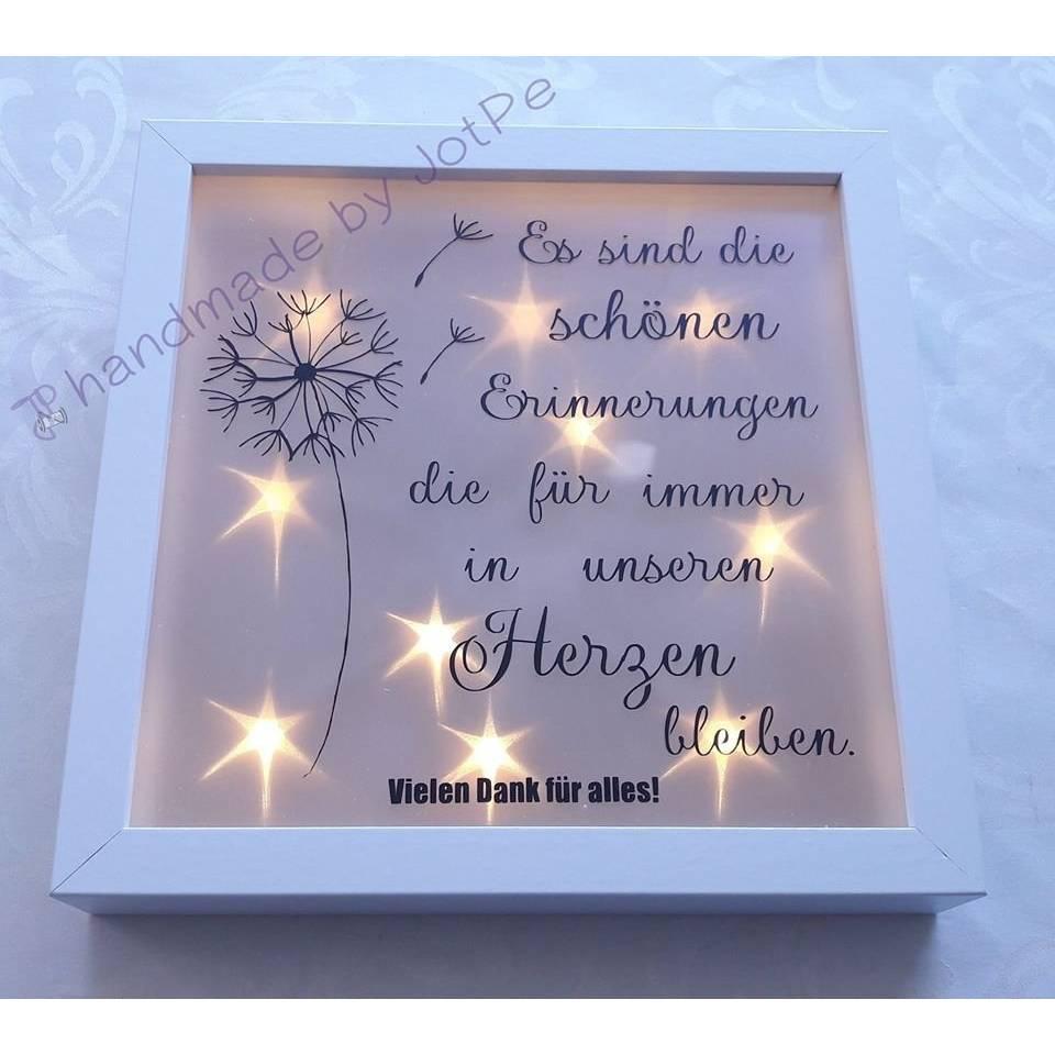 """Geschenk Abschied - Leuchtrahmen, Leuchtbild, beleuchteter Bilderrahmen """"Danke"""" Bild 1"""
