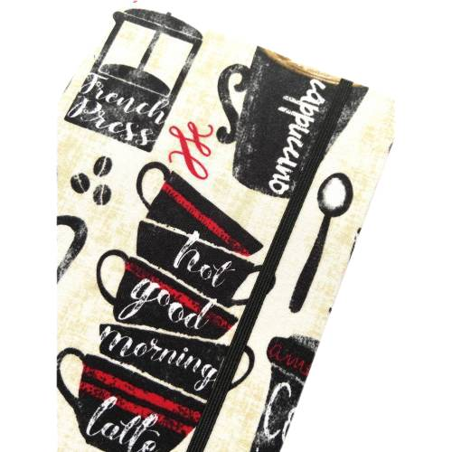 "Notizbuch Rezeptbuch ""Good Morning!"" stoffbezogen Stoff Kaffee Barista Kaffeebohne Kaffeekanne Kaffeetasse Geschenk Geburtstag Bild 1"