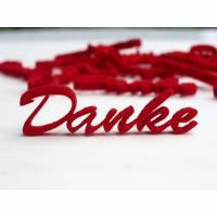 Danke, Filzanhänger, Schriftzug, 4,5 cm, rot, Anhänger, Geschenk, Kunde, Tischdeko, Applikation, Scrapbook, Etikett, Grußkarte, Bild 1