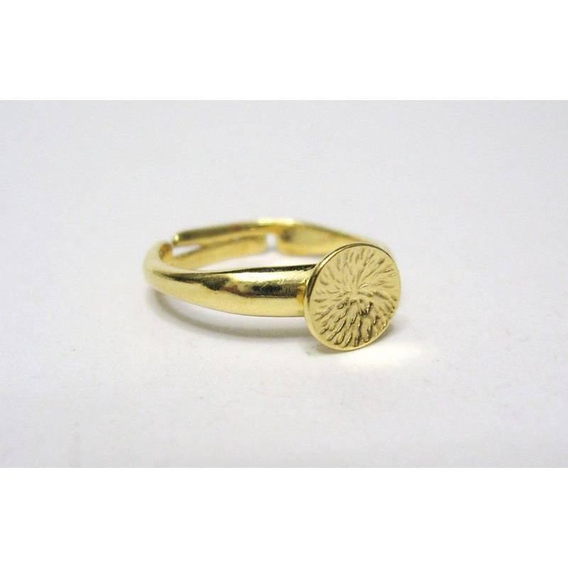 Ringrohling mit Klebeplatte  Silber 925 vergoldet, Ring mit Platte, Ring für Cabochon, Rohling Bild 1