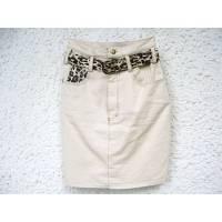 Jeans-Rock, Mini, creme, inkl. Gürtel mit Leo Print, Gr. 38, 80er, Vintage, schmaler Rock, dicker Denimstoff, paperbag Bild 1