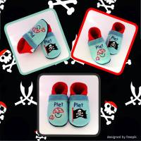 TinyToes Krabbelpuschen/Krabbelschuhe Pirat/Flagge Bild 1