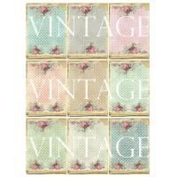 A4 Motivbogen ~Papieraufkleber~Etiketten ~Dots ~ Rosen ~Vintage~Shabby  ~ No.61 Bild 1