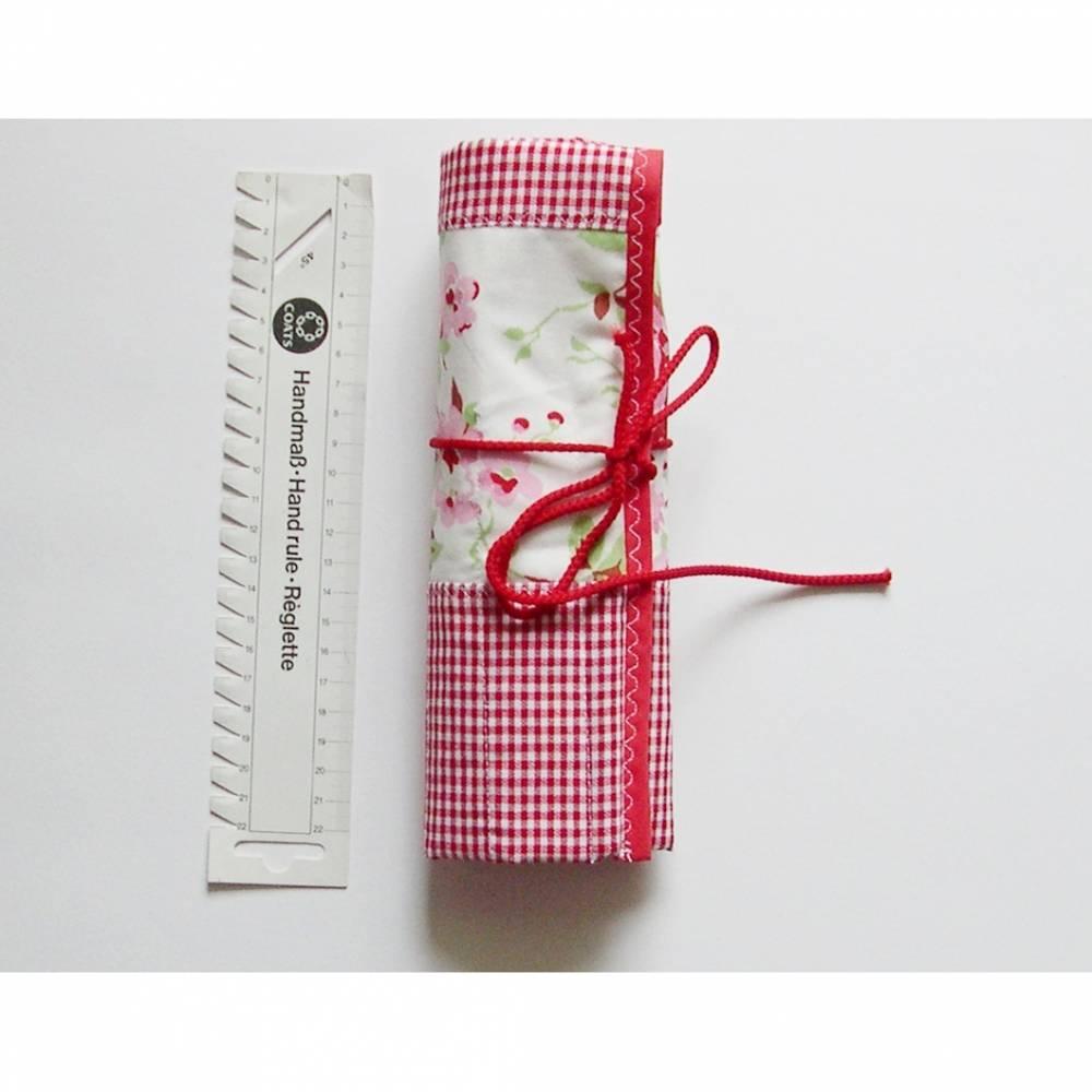 Rollmäppchen, Stricknadeltasche, Stricknadeletui aus Stoff, Aufbewahrung Stricknadeln, Tasche für Nadelspiele Bild 1