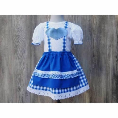 Dirndl mit Puffärmeln, klassisches Karodirndl in blau-weiß, Babydirndl für Taufe oder Hochzeit, Festtagsdirndl fürs Oktoberfest