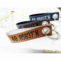 Schlüsselanhänger Koordinaten aus Leder  Bild 1