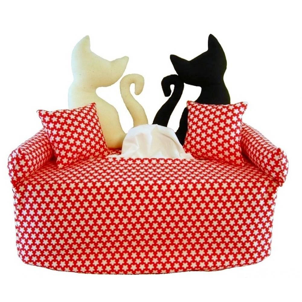 Katzenpaar auf Rot mit weißen Blüten - Bezug für Kosmetiktuchbox Bild 1