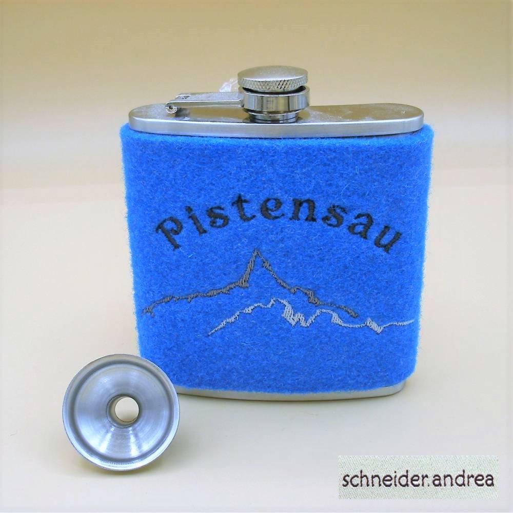 Flachmann mit bestickter Filzmanschette PISTENSAU Bild 1