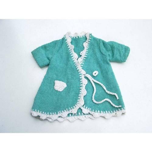 Bademantel, Puppenmantel, Jacke, Puppe, Frottee, grün, 70er, Puppenkleidung, Vintage, selbstgenäht, gehäkelt, Kinder,