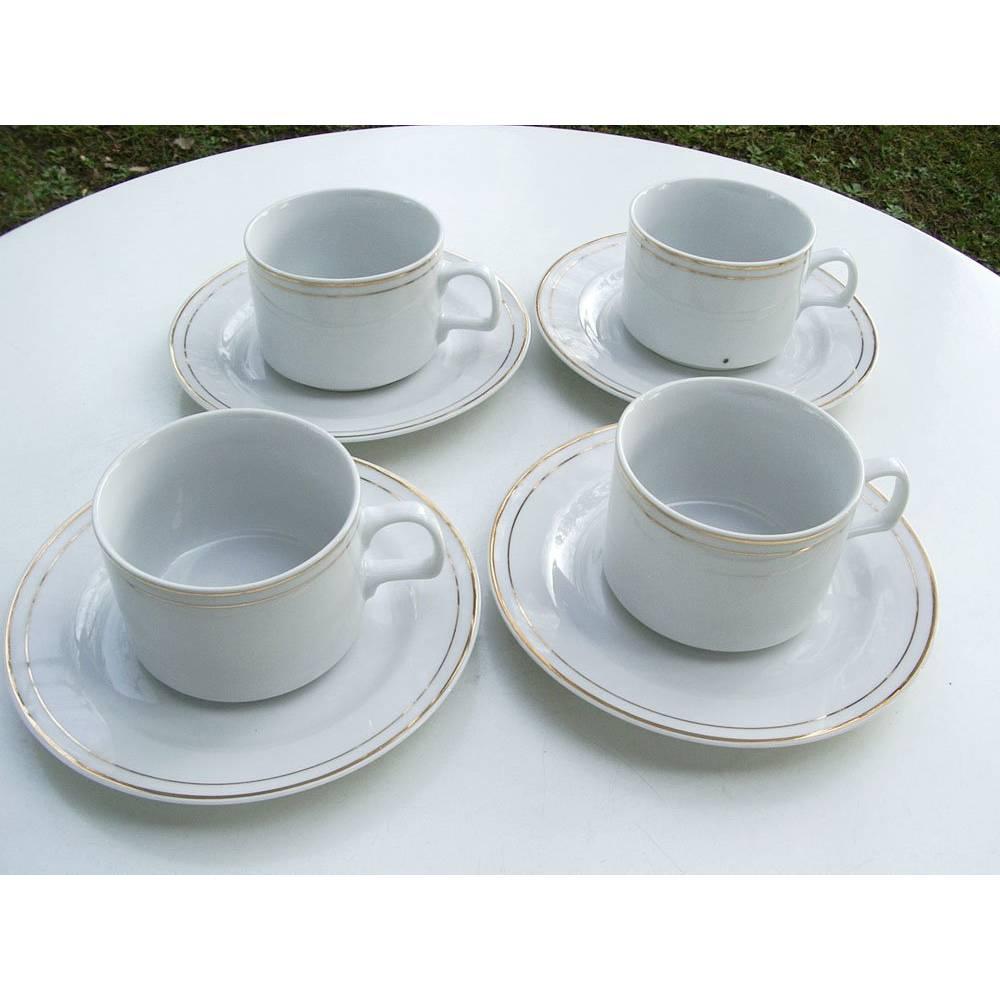 4 Tassen, 4 Teller, Porzellan, zeitlos, Vintage Bild 1