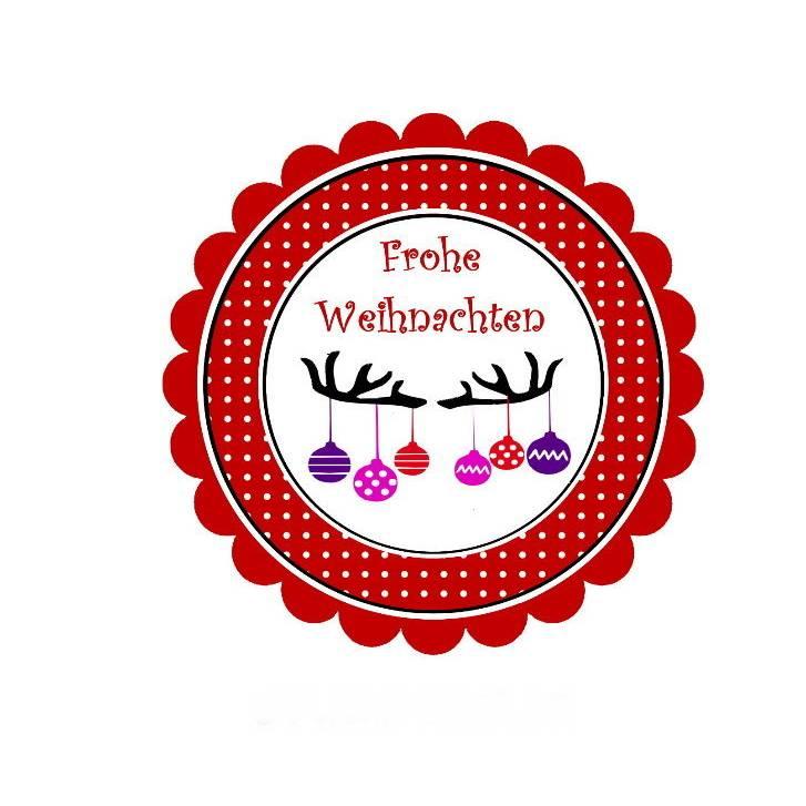 20 Aufkleber / Sticker MOTIV ...Weihnachten - Geweih mit Kugeln Bild 1