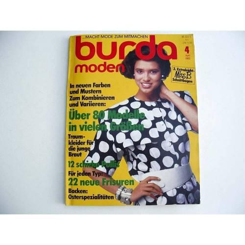 Burda Moden 04/85 Brautmode Kinder Blazer Strick Magazin Zeitschrift Nähen Stricken Schnittmuster 80er Vintage Arbeitsanleitung April 1985