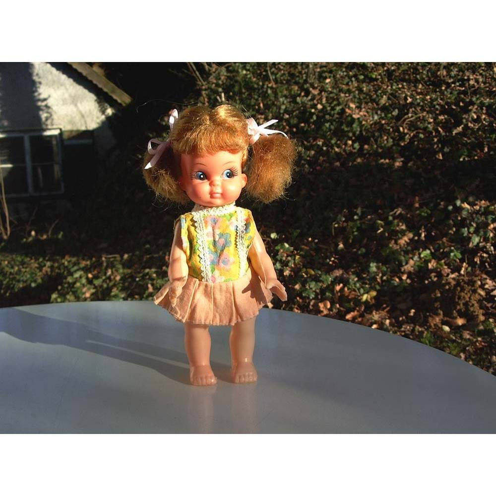 """Kleine Puppe """"Susi"""", 16 cm, beweglich, 70er Jahre, Vintage, Puppen-Mädchen, Püppchen, doll, zöpfe, rote Haare, Spielzeug,  Bild 1"""
