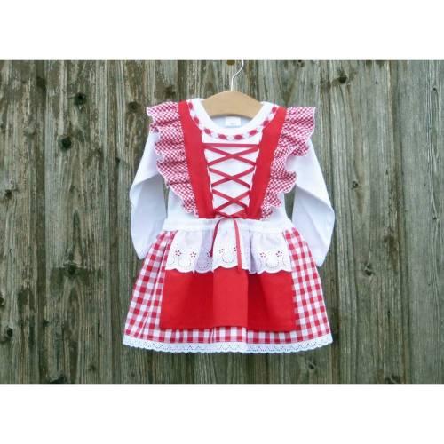 Rotkariertes Babydirndl, bayerische Hochzeit, Babydirndl, rotes Taufkleid, Taufe in Bayern, Babybody im Trachtenstil, Oktoberfest mit Baby