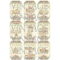 9 Papieraufkleber ~ HÄKELN ~ STRICKEN ~ A4 Motivbogen   ~  Vintage ~  Shabby ~  No.67 Bild 1