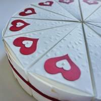 Geschenkverpackung, Hochzeitstorte aus Papier, Tortenstücke, Geldgeschenk aus der Manufaktur KarLa Bild 8